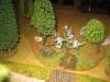 Die Dragons a pied schleichen sich durch das Wäldchen an